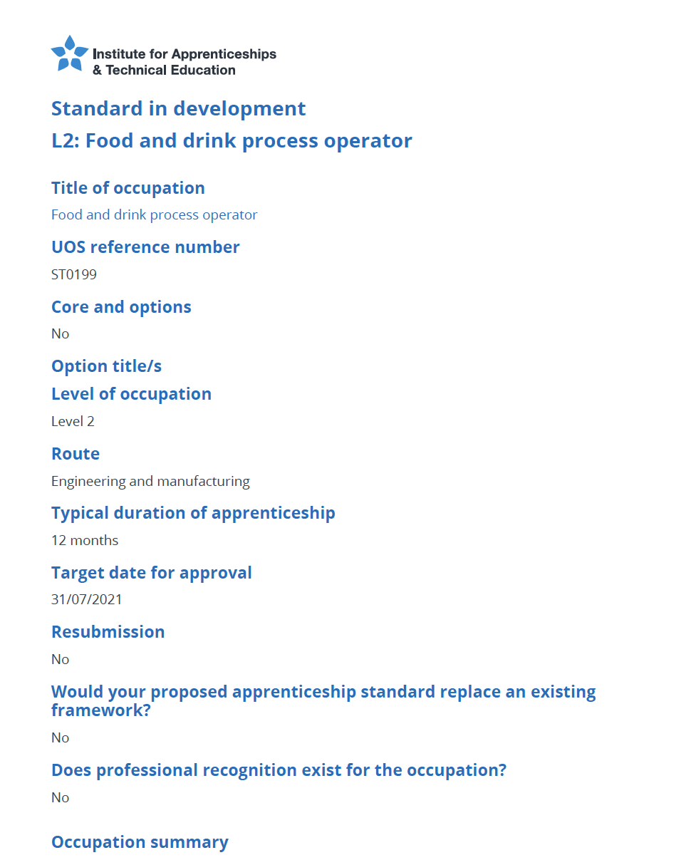 Food and Drink Process Operator (Level 2) Standard