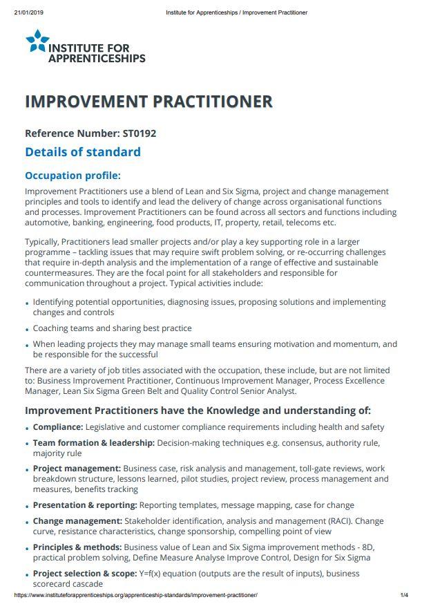 Standard - Improvement Practitioner, Level 4