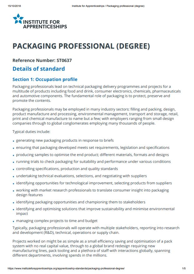Standard - Packaging Professional (Degree), Level 6